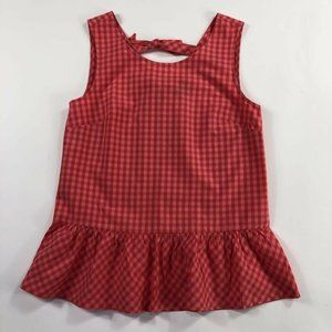 J Crew Womens Peplum Tank Top Red Gingham XXS